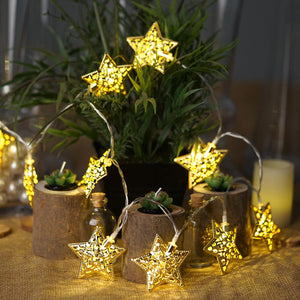 5 Ft Gold Metal Star Battery Operated String Fairy Lights With 10 Warm White LEDs