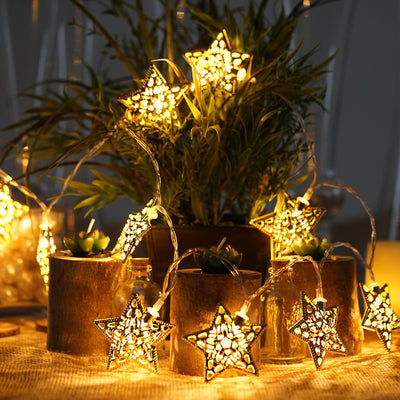 5 Ft 10 Warm White LED Gold Metal Star Battery Operated String Fairy Lights