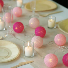 13 Ft Cotton Ball String Lights Battery Operated With 20 Warm White LED - Blush | Fushia | Pink