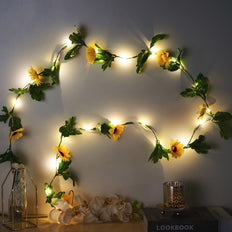 8FT LED Sunflower Garland String Lights, Fairy Lights, Battery Operated Lights
