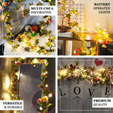 9FT | 20 LED Pink/Orange Artificial Rose Flower Garland, Battery Operated Warm White Fairy String Lights
