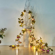 9FT LED Rose Flower Garland, String Lights, Fairy Lights, Battery Operated Lights