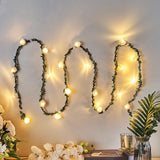 Artificial Rose and Lace Flower Garland, Battery Operated LED, Fairy String Lights