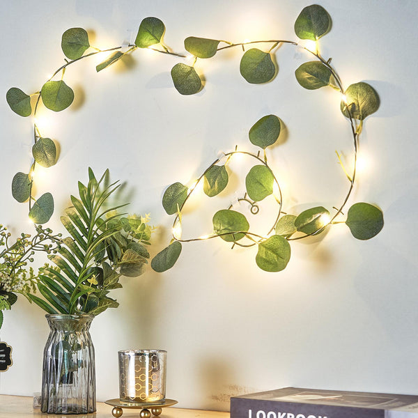 7FT | 20 LED Artificial Green Eucalyptus Leaf Garland, Battery Operated Fairy String Lights