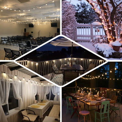 26FT String LED Lights With 25 Clear Bulbs 8 Mode Dimmable Warm White Waterproof Outdoor/Indoor Patio - Remote Included