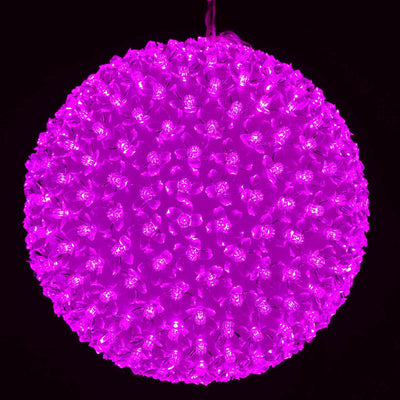 300 LED 8 Sequence Florescent New Year Party Decorative Flower Ball Lamp Strobe Light - Fushia