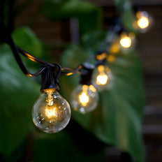 25FT Waterproof Connectable Hanging Outdoor/Indoor Patio String Lights With 28 White G40 Light Bulbs