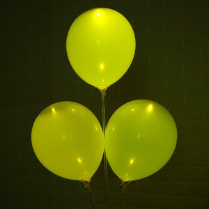 10 Pack 12'' Yellow LED Light Up Latex Balloons