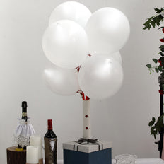 10 Pack | 12'' White Latex Light Up Helium LED Balloons