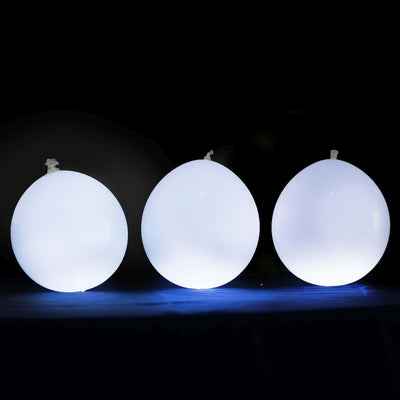 "10 PCS Wholesale 12"" LED Light Up Latex Balloons For Birthday Party Wedding Event Decoration - White/White"