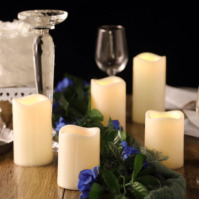 Set of 5 | Ivory Flickering Flameless LED Candles | Color Changing Battery Operated Pillar Candles With Remote | 6"