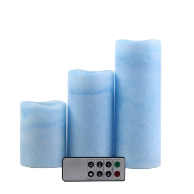 Set of 3 | Blue | Flameless Candles | Battery Operated LED Pillar Candle Lights with Remote Timer - 4"