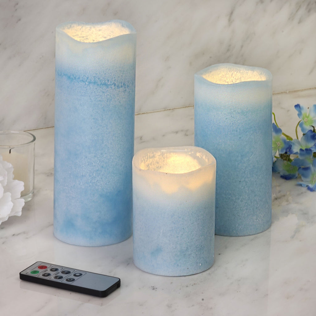 Set Of 3 Blue Flameless Candles Battery Operated Led