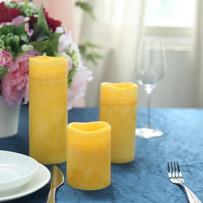 Set of 3 | Gold | Flameless Candles | Battery Operated LED Pillar Candle Lights with Remote Timer - 4"