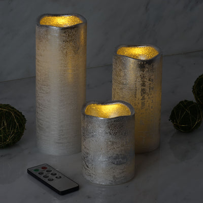 Set of 3 | Metallic Silver | Flameless Candles | Battery Operated LED Pillar Candle Lights with Remote Timer - 4"