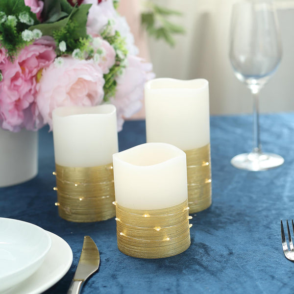 Set Of 3 Gold Flameless Candles With Led String Light