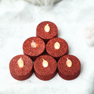 12 Pack | Red Glitter Flameless LED Candles | Battery Operated Tea Light Candles