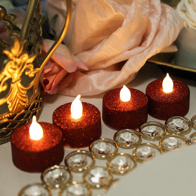 12 Pack | Glitter Flameless Candles LED | Tea Light Candles - Red | Tablecloths Factory
