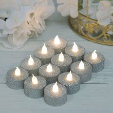 12 Pack | Silver Glitter Flameless LED Candles | Battery Operated Tea Light Candles