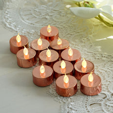 12 Pack | Metallic Flameless LED Candles | Battery Operated Tea Light Candles | Blush / Rose Gold