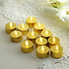 12 Pack | Metallic Flameless LED Candles | Battery Operated Tea Light Candles | Gold