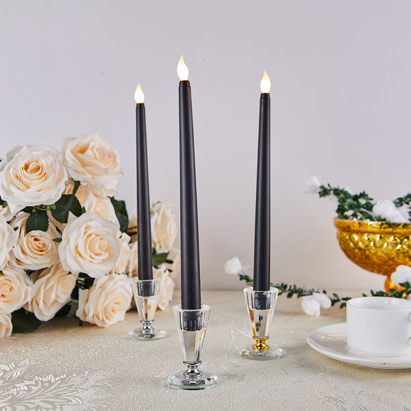 "Set of 3 | 11"" Black Flickering Flameless Battery Operated LED Taper Candles"