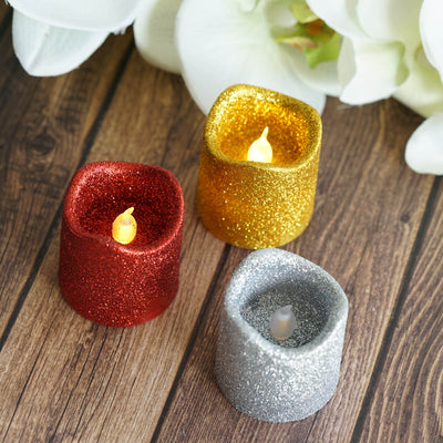 12 Pack | Red Glitter Flameless Candles LED | Battery Operated Votive Candles