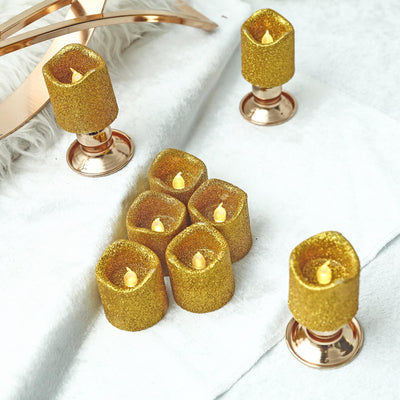 12 Pack | Gold Glitter Flameless Candles LED | Battery Operated Votive Candles