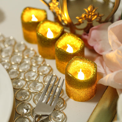 12 Pack | Glitter Flameless Candles LED | Votive Candles - Gold | Tablecloths Factory