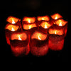 12 Pack | Glitter Flameless Candles LED | Votive Candles - Red | Tablecloths Factory