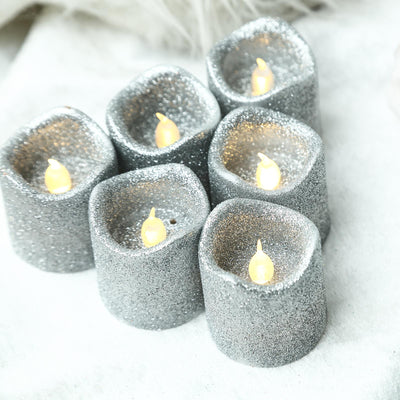 12 Pack | Silver Glitter Flameless Candles LED | Battery Operated Votive Candles