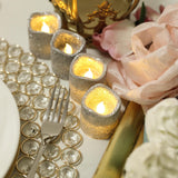 12 Pack | Glitter Flameless Candles LED | Votive Candles - Silver | Tablecloths Factory