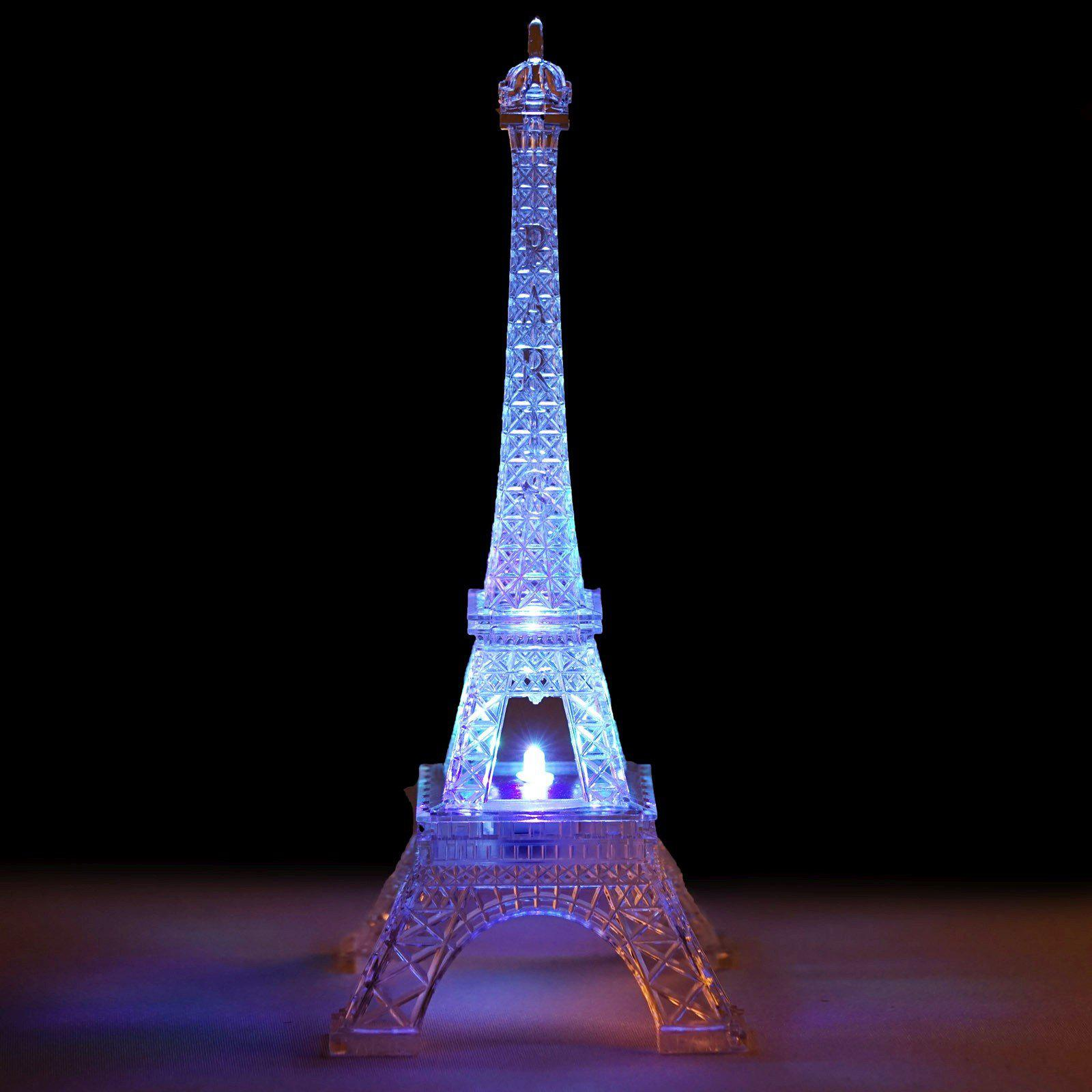 """10"""" LED 5 Color Changing Acrylic Eiffel Tower Light Table"""