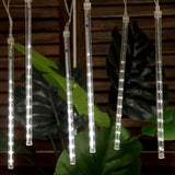 30cm 144LED Meteor Shower WATERPROOF Rain Lights Tubes String for Wedding Event Birthday Party Decoration - WHITE - SET of 8
