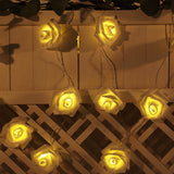 9FT | 16 LED | White Foam Rose String Lights Battery Operated Fairy Lights