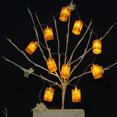 "70"" LED Burlap Barrel Fairy Lights - White"