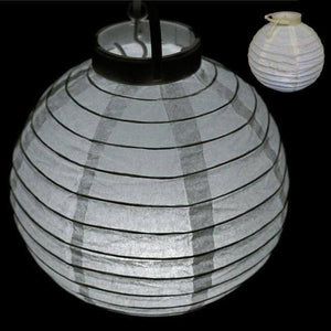 "4 Pcs 12"" White Wired Paper Lantern With LED"