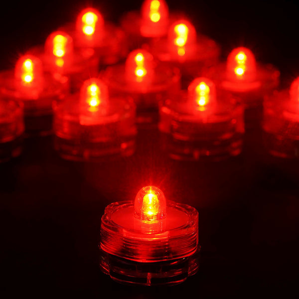 12 Pack | Red Waterproof Battery Operated Submersible Led Lights Centerpieces