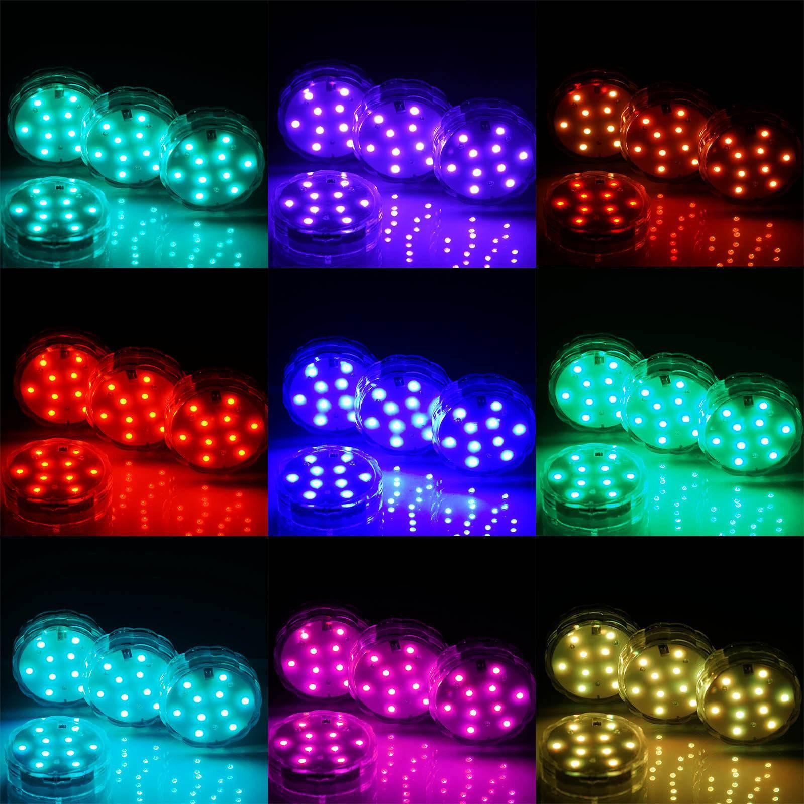 10 Led Submersible Waterproof 13 Color Changing Light Rgb