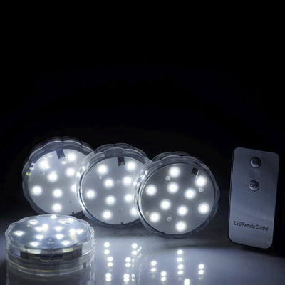 10 LED Submersible White WATERPROOF Light for Vase Wedding Party Fish Tank Decors With REMOTE - 4 PCS