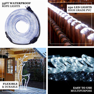 33FT Long White Waterproof Rope Lights With 250 Bright LEDs