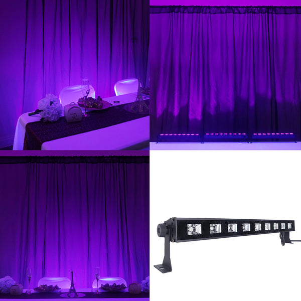 27 Watt Purple Super Bright 9 LED UV Wall Washer Backdrop Lighting Spotlight Fixture Bar