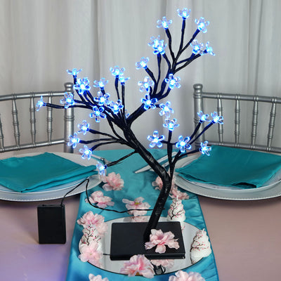 2 Pack 36 Blue Bright LED Cherry Blossom Battery Operated Tree Centerpiece
