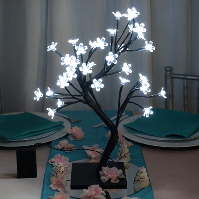 2 Pack 36 White Bright LED Cherry Blossom Battery Operated Tree Centerpiece