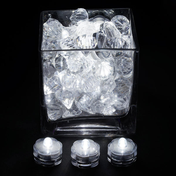 12 Pack | White Waterproof Battery Operated Submersible Led Lights Centerpieces