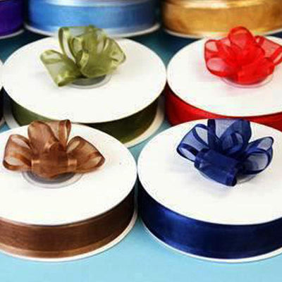 "Pack of 16 | 25 Yard | 7/8"" Organza Ribbon With Satin Edges - Assorted colors"