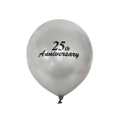 "12"" Metallic Latex Balloons- Happy 25th Anniversary-25/pk"