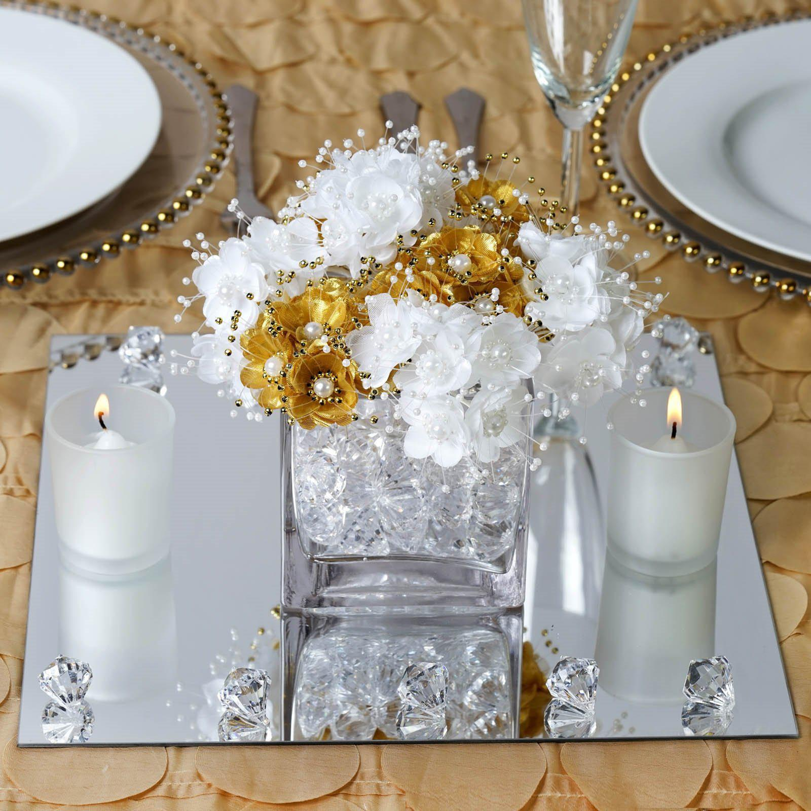 Square Glass Centerpiece Mirror : Pack quot square glass mirror wedding table centerpiece