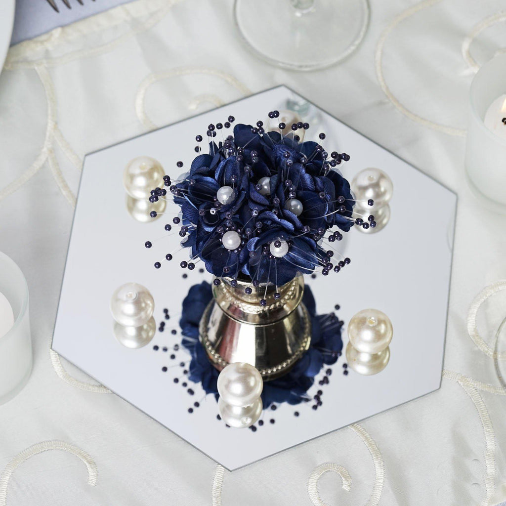 """Mirror Table Decorations: 6 Pack 8"""" Hexagon Glass Mirror Wedding Table Centerpiece"""