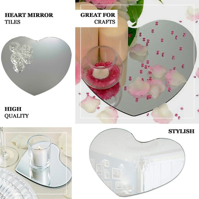 "4 Pack 12"" Heart Glass Mirror"